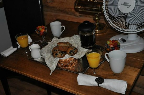Banff Log Cabin B&B:                   Blueberry muffins for breakfast