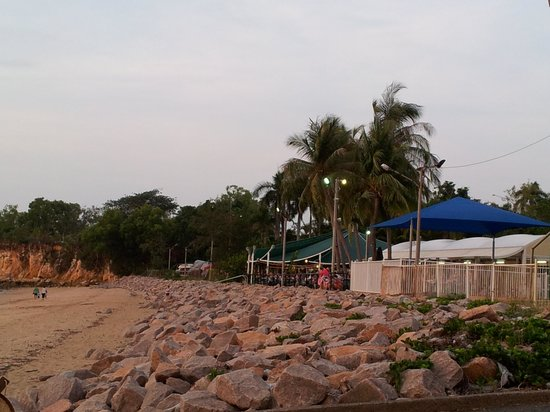 Bar and Blue Marlin Bistro:                   From the beach, looking back to the Darwin Trailer Boat Club