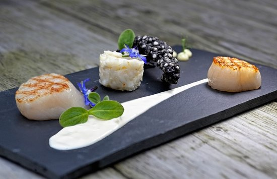 Wellness Hotel Caracol: Coquilles, risotto en witte wijnsaus