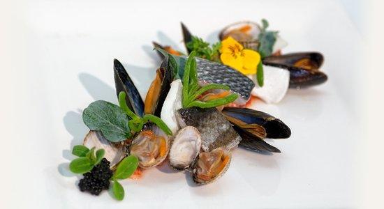 Wellness Hotel Caracol: Vispallet van schaal en schelpdieren en verse vis.