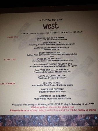 The Twelve Hotel:                   west menu