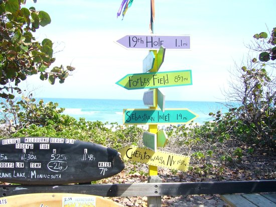 Billie's on the Beach:                   Signposts at Billie's