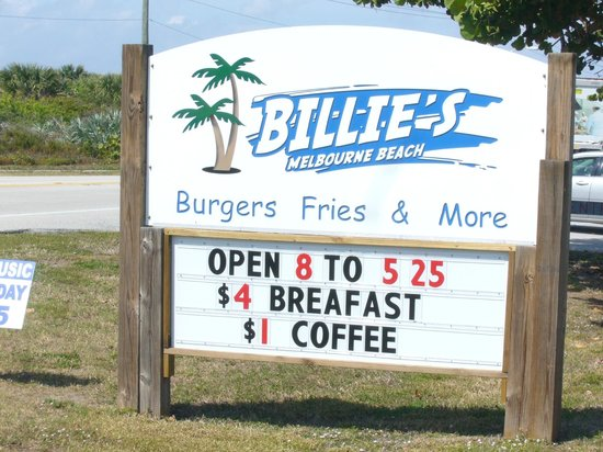 Billie's on the Beach:                   Billie's sign on A1A. Correct spelling optional