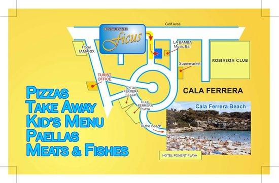 Restaurante Ficus - Can Carlos: Restaurante Ficus - Cómo llegar desde Cala Ferrera.