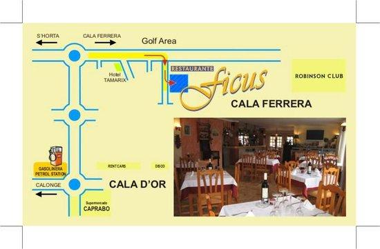 Cala Ferrera, Spain: Restaurante Ficus - Cómo llegar desde Cala d'Or