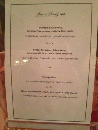 Le Portillo Hotel & Residence:                                                       La soirée savoyarde