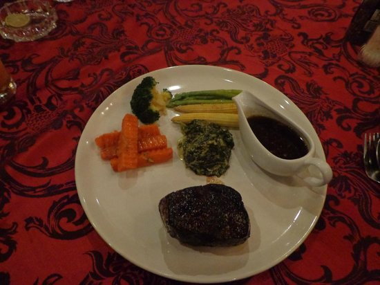 Norbu's Steakhouse:                   Angus Tenderloin (normally served with mash or fries)