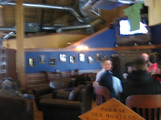 Back Country Brewery:                   Family Dining Area, Overstuffed Chairs, Hi-tops and Fireplace
