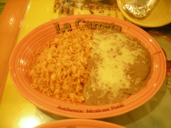 La Carreta Restaurant :                                     refried beans and rice