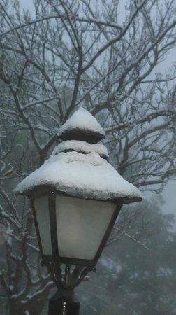 West View Ranikhet:                   Lamp post after snowfall.