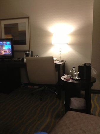 Atlantica Hotel Halifax:                   desk are and mini table for ice bucket with complimentary Fiji water
