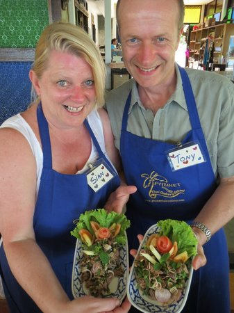 Phuket Thai Cookery School:                   The beef salad and yes we made those tomatoe roses....