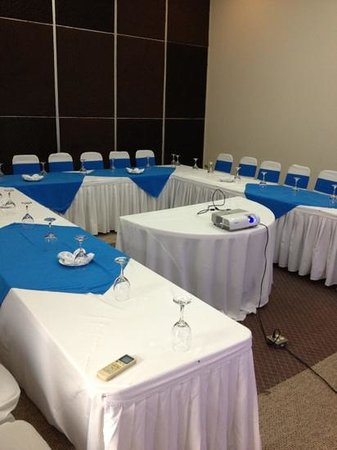 Hotel Contempo:                   Board room prepared by hotel.