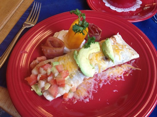 Romantic Riversong Bed and Breakfast Inn:                   Delicious breakfast burrito by Blanca.