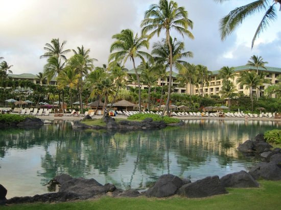 Grand Hyatt Kauai Resort & Spa:                   Lagoon and hotel