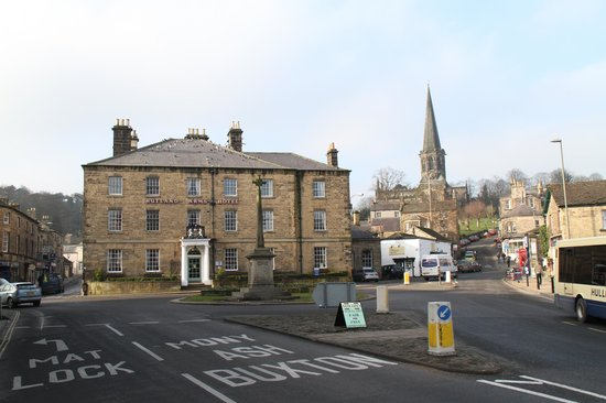 Rutland Arms Hotel Bakewell:                   View from the street showing the hotel