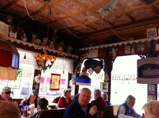 Corner Booth:                   authentic tin ceiling and decor