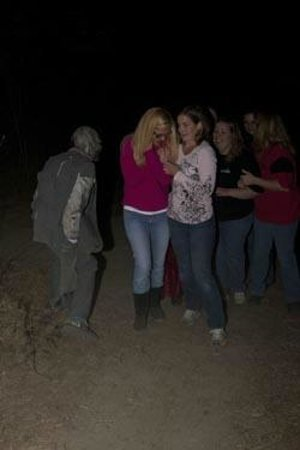Getting scared at a Danger Run haunted house