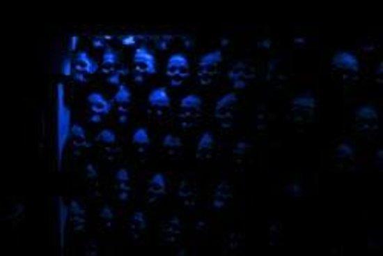 Creepy wall of skulls at a Danger Run haunted house