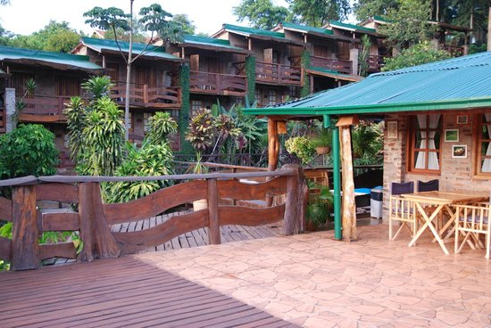 Jasy Hotel:                   View of Hotel from the Outdoor Dining Area