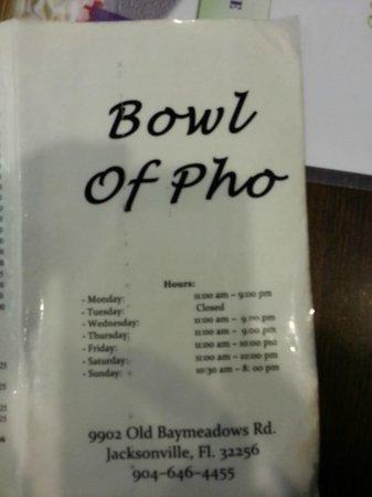 Bowl of Pho:                   Menu