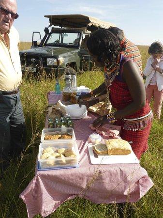 Naboisho Camp, Asilia Africa:                                     Breakfast picnic in the Mara