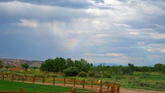 Tamaya Mist Spa & Salon:                   A rainbow in the distance on our walk to the stables