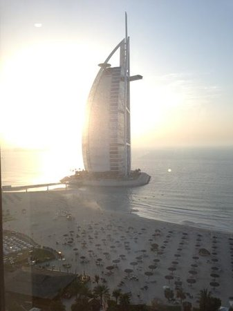 Jumeirah Beach Hotel:                                                       view from our room of the Burj Al Arab at