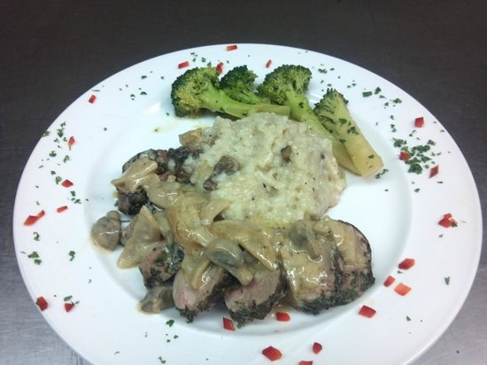 The Clubhouse Restaurant: pork tenderloin & mushroom risotto