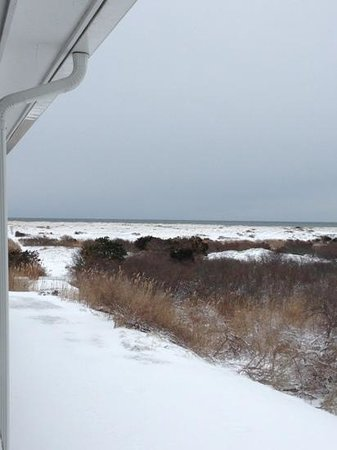 The Ocean Dunes at Amagansett:                   view of the beach from Balcony (in February)