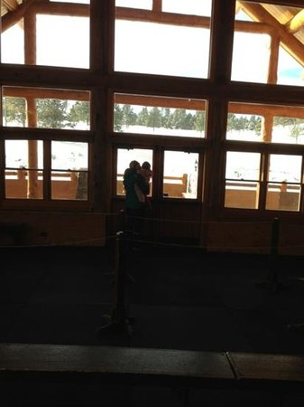Evergreen Lake:                   looking out from the lodge