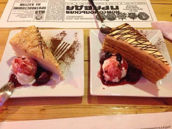 CCCP Restaurant:                   Excellent cake, including honey cake on the right