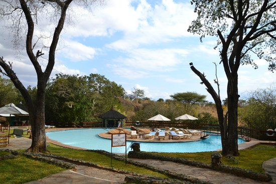 Tarangire Sopa Lodge:                   Pool and Tarangire National Park in the background