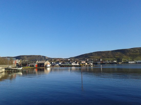 View looking across the bay to Scalloway Hotel