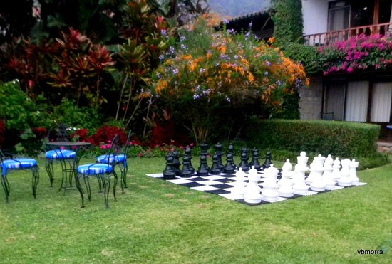 Hotel Atitlan:                   Gigantic chess game in the garden