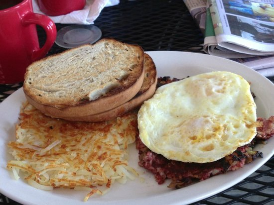 Red Rooster:                   Eggs on corned beef hash