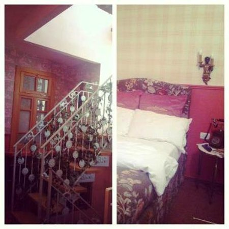 Peer Guest House:                   Sunny staircase and my lovely room :)