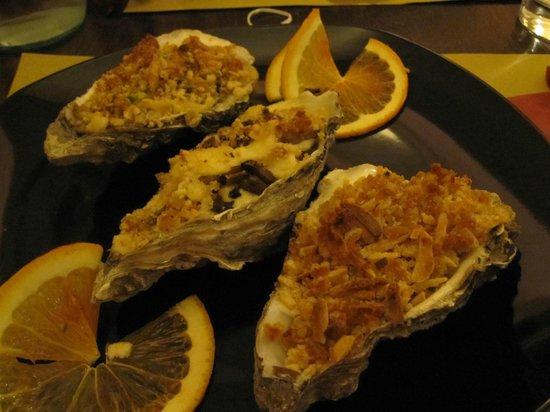 Les Crepes :                                     Tris di ostriche al gratin