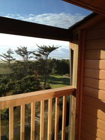 Ireland's Rustic Lodges:                   View from the deck with plexiglass to let in sunshine and enough side coverage