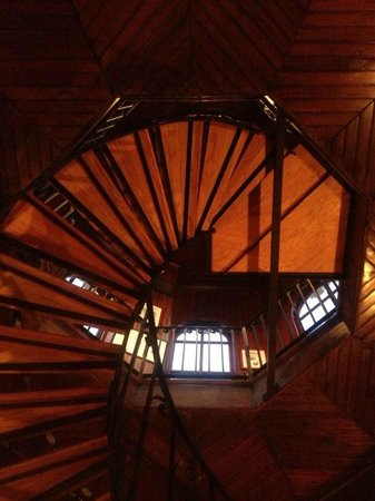 Wentworth Mansion:                   spiral staircase to rooftop where you can see the city of Charleston and watch