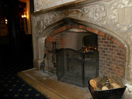 Marygreen Manor Hotel:                   roaring log fire in the lounge
