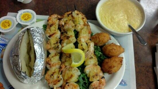 Corky Bell's Seafood:                   Grilled shrimp dinner entrée.  18 shrimp! with pineapple in between. my sides