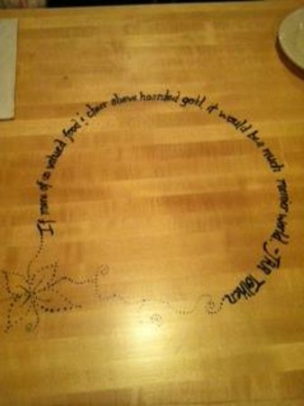 Five Loaves Cafe:                   Tables at Five Loaves - different quotes on each table