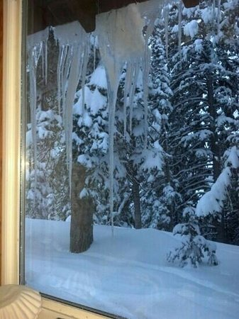 Grand Mesa Lodge:                                     Icicles outside of our kitchen window, cabin #7