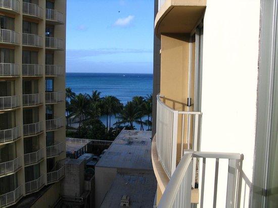 Aston Waikiki Beach Hotel:                   Waikiki Beach from our room on the hotel's south side                 