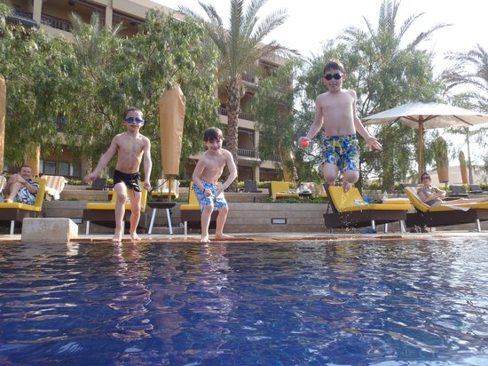 Mena House Hotel:                   Son meeting new friends at pool