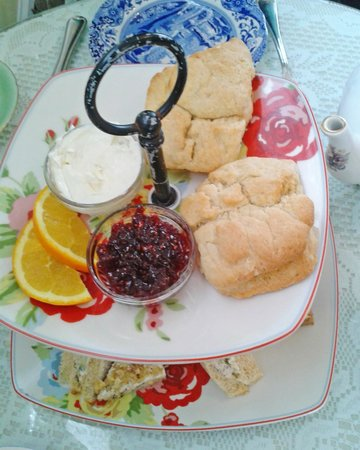 McKenna's Tea Cottage:                   Scones with cream and berries