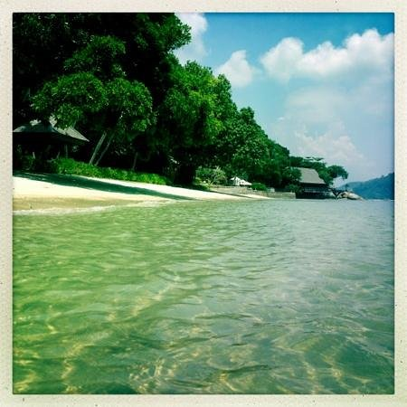 Pangkor Laut Resort:                                     The small beach in from of The Spa Village
