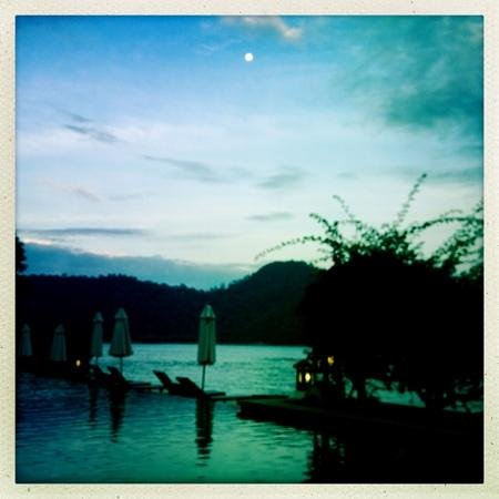Pangkor Laut Resort:                                     Dusk by the infinity pool at The Spa Village