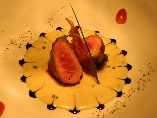 Fabio's: duck breast gorgonzola fondue,balsamic winrgar reduction and crispy bacon